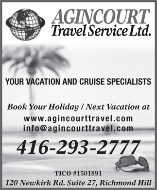 Agincourt Travel Service (416-293-2777) - Display Ad