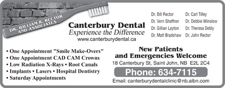 Canterbury Dental Clinic (1-855-228-4859) - Display Ad