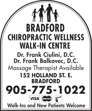 Bradford Chiropractic Walk In Centre (905-775-1022) - Display Ad