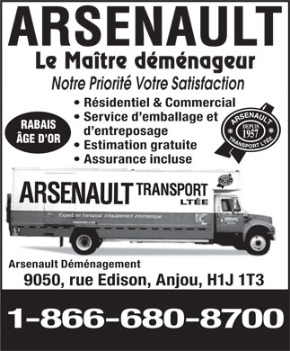 Transport Arsenault (514-376-5100) - Display Ad