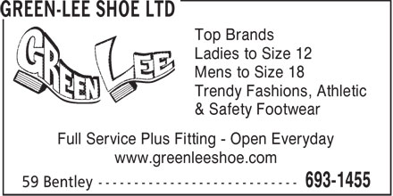 Green-Lee Shoe Ltd (506-693-1455) - Annonce illustrée - Top Brands Ladies to Size 12 Mens to Size 18 Trendy Fashions, Athletic & Safety Footwear Full Service Plus Fitting - Open Everyday www.greenleeshoe.com  Top Brands Ladies to Size 12 Mens to Size 18 Trendy Fashions, Athletic & Safety Footwear Full Service Plus Fitting - Open Everyday www.greenleeshoe.com