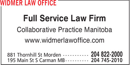Widmer Law Office (204-822-2000) - Annonce illustrée - Full Service Law Firm Collaborative Practice Manitoba www.widmerlawoffice.com