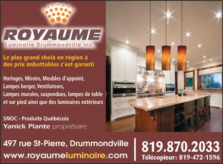 royaume luminaire drummondville inc 1280 cormier drmvl qc. Black Bedroom Furniture Sets. Home Design Ideas