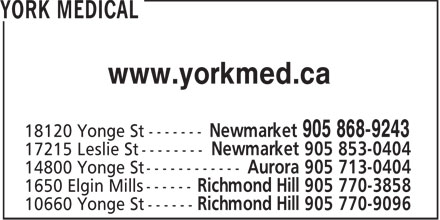 York Medical (905-853-0404) - Display Ad - www.yorkmed.ca