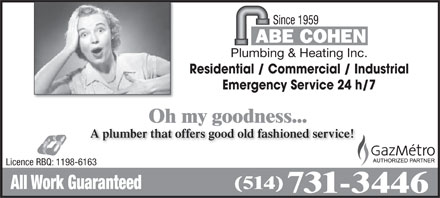Abe Cohen Plumbing & Heating Inc (514-731-3446) - Display Ad