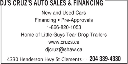 DJ's Cruz's Auto Sales &amp; Financing (204-339-4330) - Annonce illustr&eacute;e