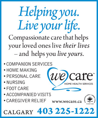 We Care Home Health Services (403-225-1222) - Annonce illustrée