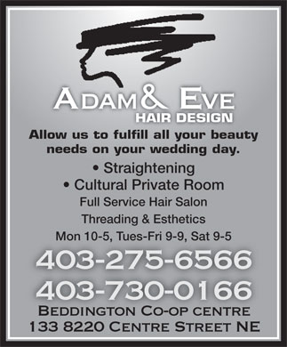Adam & Eve Hair Design Beddington (403-275-6566) - Display Ad