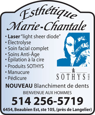 Esthétique Marie-Chantale (514-256-5719) - Display Ad