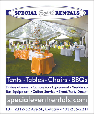 Special Event Rentals (403-235-2211) - Annonce illustr&eacute;e