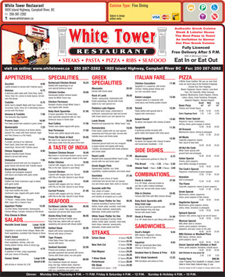 White Tower Restaurant (250-287-2282) - Menu