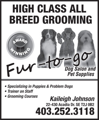Fur To Go Dog Salon & Pet Supplies (403-252-3118) - Annonce illustrée