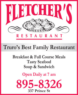 Fletcher's Restaurant (902-895-8326) - Annonce illustr&eacute;e