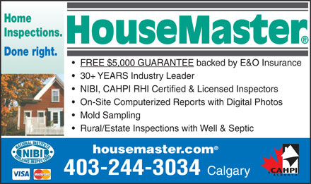 HouseMaster Home Inspections (403-798-0894) - Annonce illustr&eacute;e