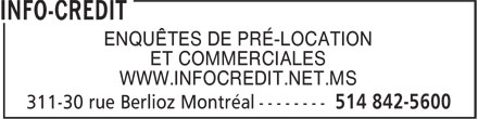 Info-Cr&eacute;dit (514-842-5600) - Annonce illustr&eacute;e
