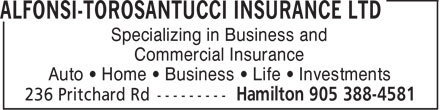 Alfonsi-Torosantucci Insurance Ltd (905-388-4581) - Annonce illustr&eacute;e - Specializing in Business and Commercial Insurance Auto &bull; Home &bull; Business &bull; Life &bull; Investments
