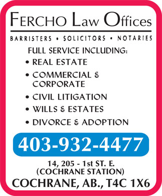 Fercho Law Offices (403-932-4477) - Annonce illustrée