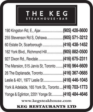The Keg Steakhouse & Bar (905-428-8600) - Display Ad