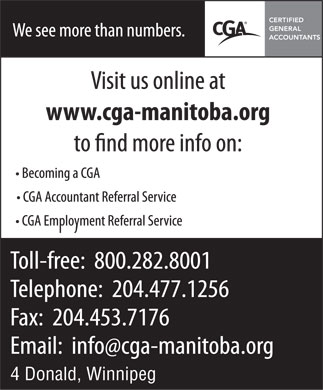 The Certified General Accountants Association of Manitoba (204-477-1256) - Annonce illustrée - 4 Donald, Winnipeg
