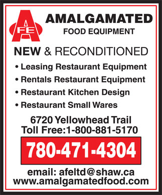 Amalgamated Food Equipment Sales &amp; Service Ltd (780-471-4304) - Annonce illustr&eacute;e