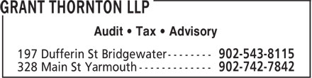 Grant Thornton LLP (902-543-8115) - Display Ad - Audit • Tax • Advisory Audit • Tax • Advisory