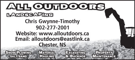 All Outdoors Landscaping (902-277-2001) - Display Ad - Website: www.alloutdoors.ca Email: alloutdoors@eastlink.ca