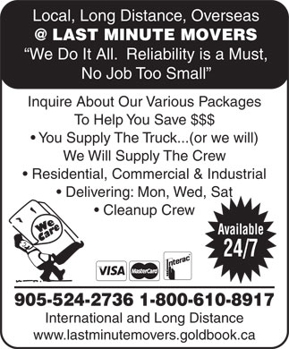 At Last Minute Movers (905-524-2736) - Display Ad