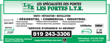 Portes L T R (Les) (819-243-3306) - Display Ad