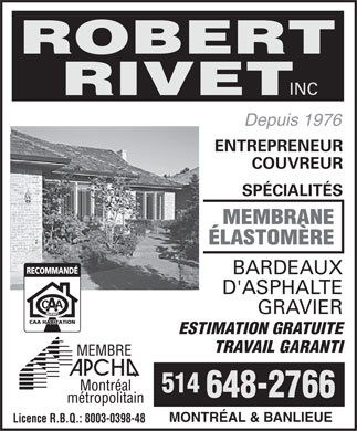Robert Rivet Inc (514-648-2766) - Display Ad