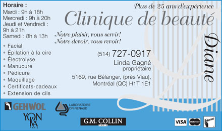 Clinique De Beauté Diane (514-727-0917) - Display Ad