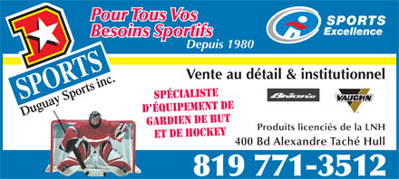 Duguay Sports Inc (819-771-3512) - Display Ad