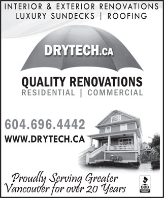 Drytech Construction Inc (604-695-1607) - Annonce illustrée - QUALITY RENOVATIONS RESIDENTIAL COMMERCIAL 604.696.4442