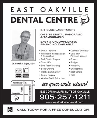 East Oakville Dental Centre (905-257-1211) - Display Ad