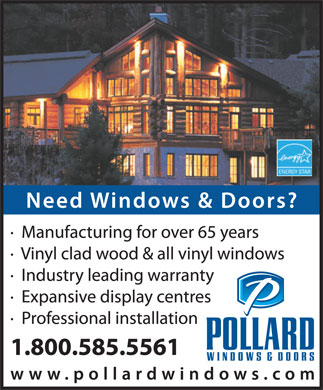 Pollard Windows Inc (1-800-585-5561) - Display Ad