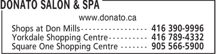 Donato Salon & Spa (416-252-8999) - Display Ad - www.donato.ca www.donato.ca