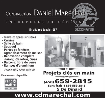 Construction Daniel Maréchal (450-800-1463) - Display Ad