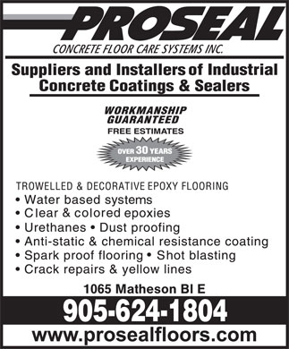 Proseal Concrete Floor Care Systems Inc (905-624-1804) - Display Ad - 30 1065 Matheson Bl E 30 1065 Matheson Bl E