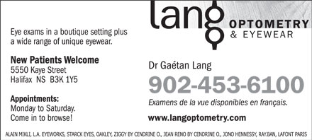 Lang Optometry & Eyewear (902-453-6100) - Annonce illustrée - 902-453-6100 902-453-6100