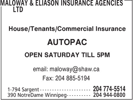 Maloway & Eliason Insurance Agencies Ltd (204-944-0800) - Annonce illustrée