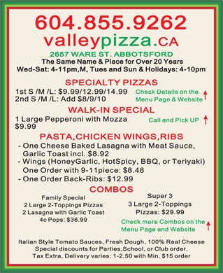 Valley Pizza (604-855-9262) - Annonce illustrée