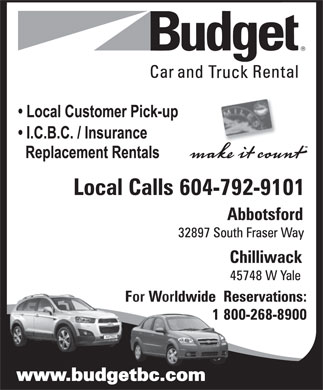 Budget Car & Truck Rental (604-792-9101) - Display Ad