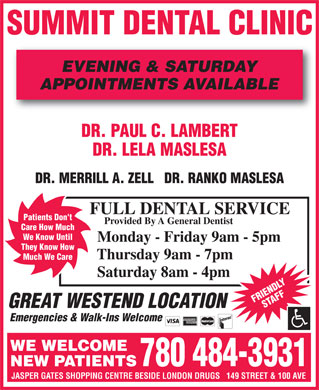 Summit Dental Clinic (780-484-3931) - Display Ad