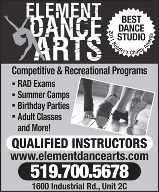 Element Dance Arts (519-700-5678) - Display Ad