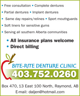 Bite-Rite Denture Clinic (403-752-0260) - Display Ad