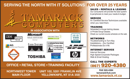 Tamarack Computers (867-920-4380) - Display Ad