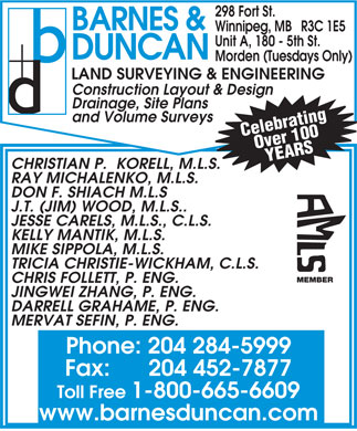Barnes & Duncan Land Surveying & Engineering (204-284-5999) - Display Ad