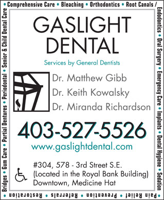 Gaslight Dental Health Centre (403-527-5526) - Annonce illustrée