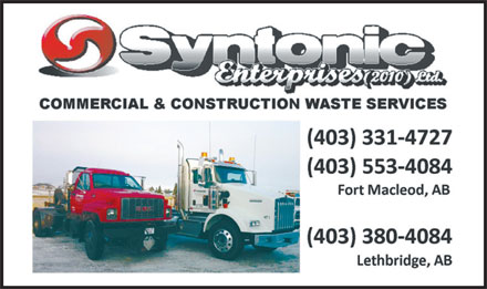 Syntonic Enterprises Ltd (403-331-4727) - Annonce illustrée