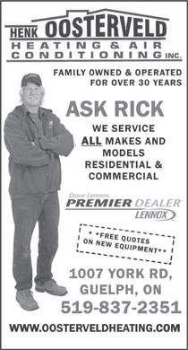 Oosterveld Henk Heating & Air Conditioning Inc (226-314-1084) - Display Ad