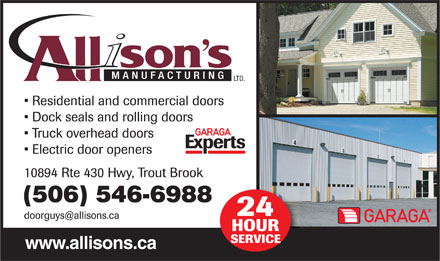 Allison's Manufacturing Ltd (506-546-6988) - Annonce illustrée - (506) 546-6988 www.allisons.ca